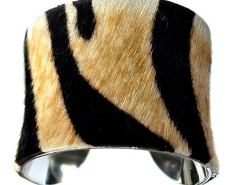 Tiger Stripe Pony Hair Silver Lined Cuff Bracelet  - by UNEARTHED