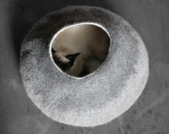 Cat Nap Cocoon / Cave / Bed / House / Vessel - Hand Felted Wool - Crisp Contemporary Design - READY TO SHIP Gray Cat Bubble