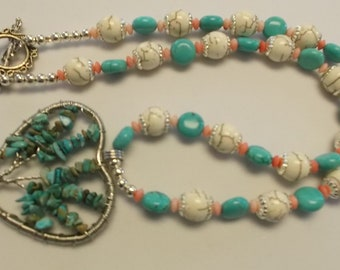 Tree of Life-Turquoise Heart- 22 inch turquoise and coral necklace