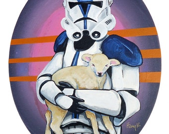 Digital Print 7x10 Special Ops Star Wars Clone Trooper with Baby Lamb from original Acrylic artwork