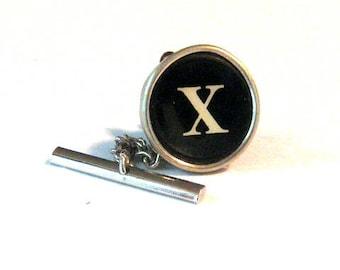 Vintage  Typewriter KEY TIE TACK letter X