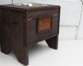 Single Dog Feeder Personalized Bowl Holder Elevated Dog Feeder Pet Furniture Espresso Custom