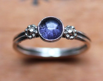 Iolite ring, daisy ring, silver flower ring, water sapphire, purple ring, September birthstone ring, silver promise ring, made to order