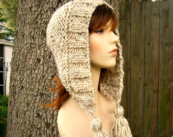 Knit Hat Womens Hat Knit Hood - Tassel Hat in Oatmeal Knit Hat - Oatmeal Hat Oatmeal Hood Oatmeal Ear Flap Hat Womens Accessories Winter Hat