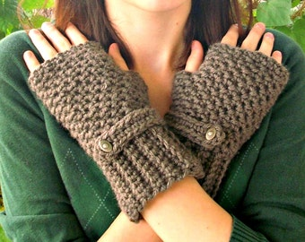 Taupe Brown Fingerless Gloves - Crocheted Fingerless Gloves Mittens - Taupe Gloves Brown Gloves Taupe Mittens Womens Accessories