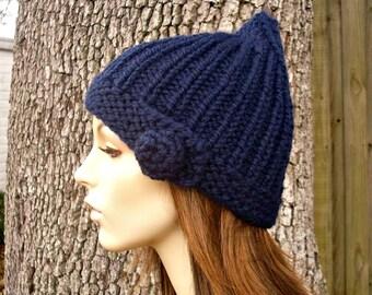 Navy Blue Womens Hat - Quinn Beanie Gnome Hat Navy Blue Knit Hat - Blue Beanie Blue Hat Navy Beanie Navy Hat Womens Accessories Winter Hat
