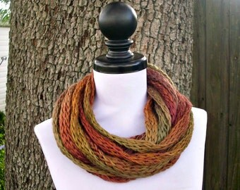 Brown Circle Scarf Infinity Cowl - Earthen - READY TO SHIP