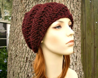 Knit Hat Womens Hat - Swirl Beanie in Cabernet Metallic Oxblood Red Wine Knit Hat - Red Hat Womens Accessories Winter Hat