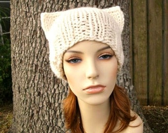 Knit Hat Womens Hat - Cat Beanie Hat in Starlight Metallic Cream Knit Hat - Cream Hat Cream Beanie Womens Accessories Winter Hat
