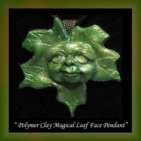 Handmade Magical Leaf Face Polymer Clay Pendant OOAK Wearable Art