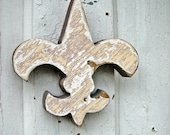 Peach and Periwinkle Fleur de Lis Reclaimed Wood New Orleans French