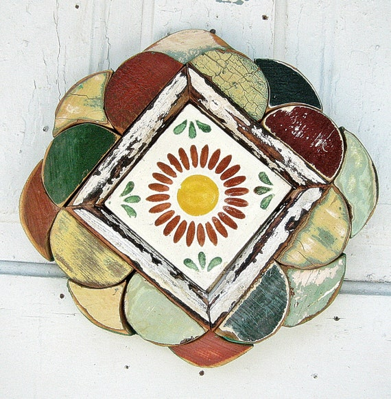Mosaic Framed Talavera Flower Tile Red Yellow Green Reclaimed Wood Art
