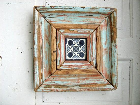 Framed Talavera Tile Reclaimed Wood Blue Orange