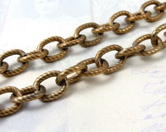 Vintage Brass Plated on Steel Candy Cane Textured Cable Chain (2 Feet) (C569)