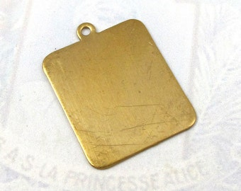 Brass Rectangle Engraving Pad Charms (6X) (M599)