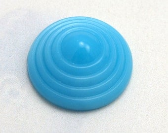 Vintage Glass Round Blue Cabochons (4X) (CB519)