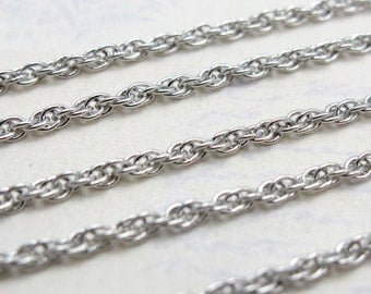 Vintage Silver Plated Rope Chain Pieces - Soldered (4X) (26 inches) (C571)