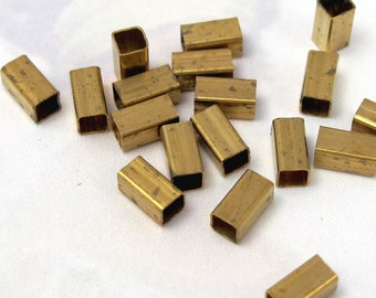 Vintage Dark Brass Square Tube Beads (30X) (B581)