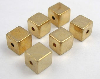 Vintage Gold Plated Cube Beads (6X) (V340)