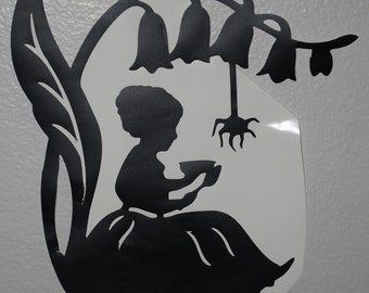 Fairytale Kid's Room Decor Silhouette Garden Room Wall Decal 12x10 Little Miss Muffet Wall Decal