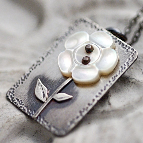 Little Flower Vintage Button Necklace Sterling Silver Handcrafted