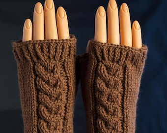 Chestnut Brown Fingerless Gloves / Mitts / Arm Wamers all Wool