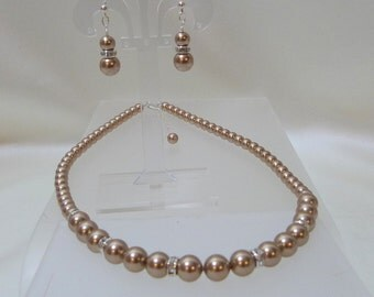 Swarovski Bronze Pearl Necklace and Earrings