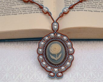 Beaded Soutache Necklace in Powder Blue, Beige, and Copper