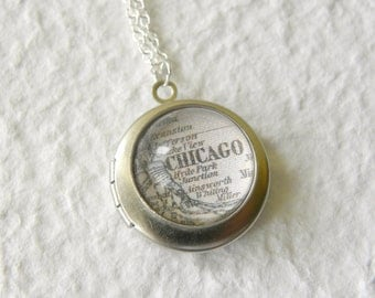 Chicago Map Locket - Chicago Illinois also featuring Evanston, Hyde Park, and more - Choose from 46 different maps - Custom Map Jewelry