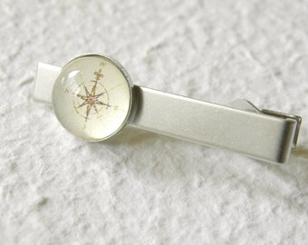 Antique Compass Tie Bar Clip - Pick Your Nautical Compass - Great gift from Groomsmen or College Graduate - Custom gifts accessories for him