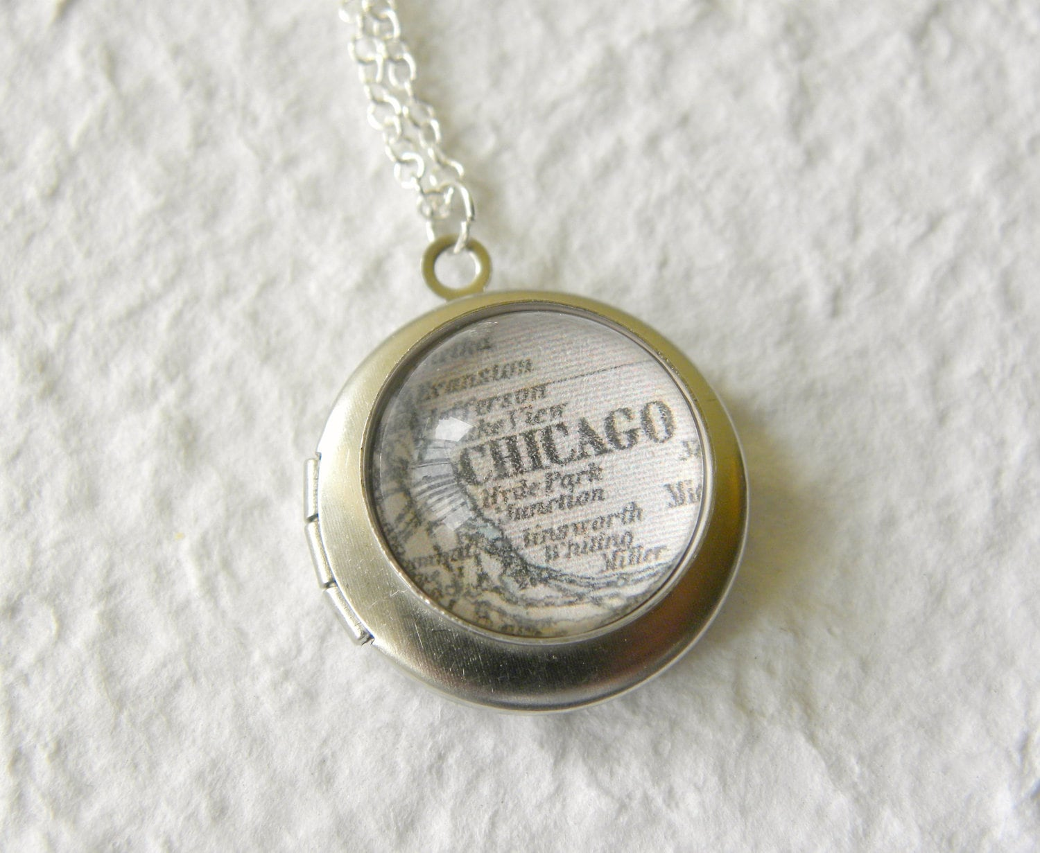 Chicago Map Locket Chicago Illinois Also Featuring Evanston - Chicago map necklace