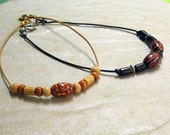 Black and Tan Wood Beaded Anklets, Two Fer Special... Fun Summer Ankle Bracelets