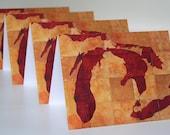 SET of 4 Great Lakes greeting card, print of original artwork