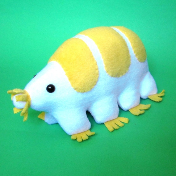 Plush tardigrade - white and yellow water bear