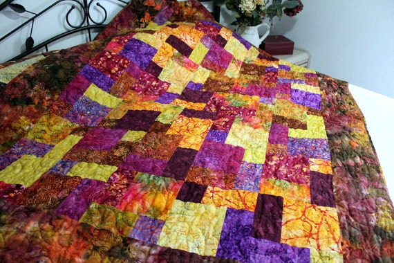 Batik Lap Quilt Sofa Throw Blanket Caribbean Sunset RESERVED for Connie