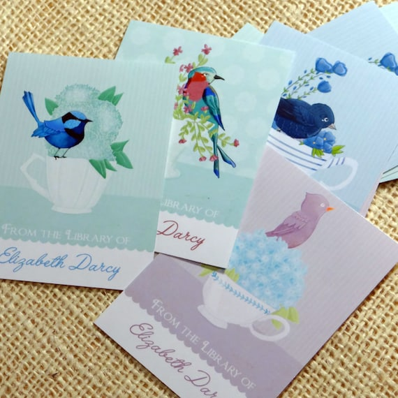 Personalized Bookplates Birds & Teacups Bookplates Set of 18 in blue greens and violets by Stephanie Fizer Coleman