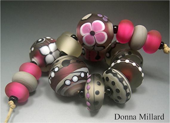 HANDMADE LAMPWORK Glass Beads SET Donna Millard sra lamp work rose pink cranberry black grey white pink lotus