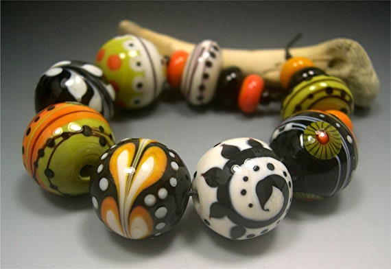 HANDMADE LAMPWORK Glass Beads SET Donna Millard sra lamp work orange green black halloween raven witch hippie boho gypsy