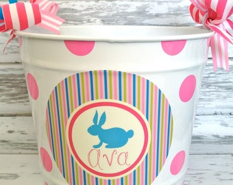 10 Quart Personalized Bucket with Added Polka Dots