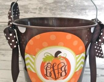 personalized PUMPKIN fall - thanksgiving centerpiece five quart bucket