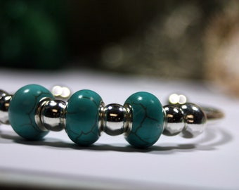 Taos Silver Beaded Cuff Magnesite Turquoise Beads Interchangeable