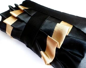 Black and Gold Satin Ruffle Wristlet