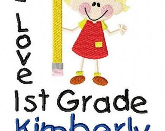 Custom Personalized Girls 1st First Grade T Shirt Back To School First Day of School