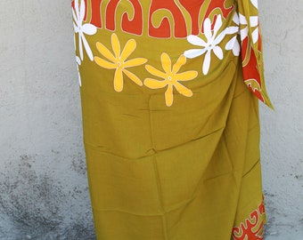 Khaki, rust, gold and white tattoo tiare premium Tahitian pareo, Polynesian dance costume skirt, 100 percent rayon
