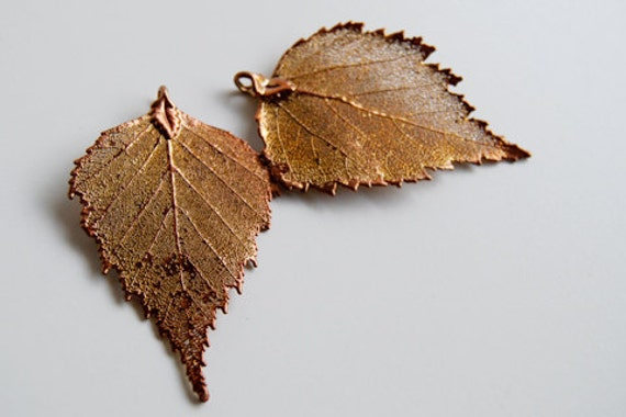 Two Large REAL Copper Birch Leaf Pendants CB1