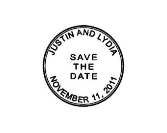 custom wedding stamp Save the date Cancellation marks custom round Postmark Mail Rubber Stamp
