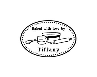 Ideal gift baking (Customized Rubber Stamp) - Baked with love / From the kitchen of your name / Return Address / Home Baked by/ Kitchen