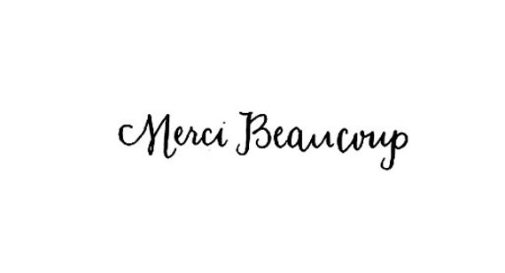 french text Merci Beaucoup calligraphy rubber stamp