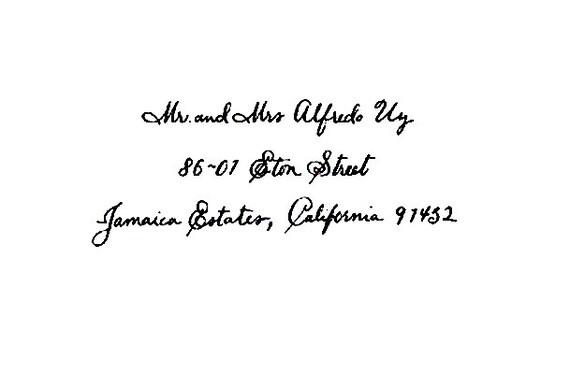 Custom Calligraphy Return address rubber stamp Carpenter Script