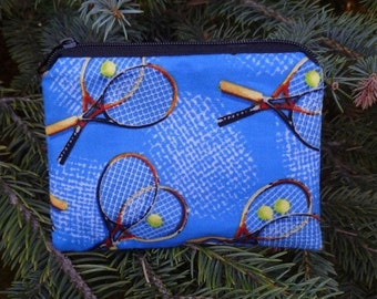 Tennis coin purse, gift card pouch, credit card pouch, tennis on blue, The Raven
